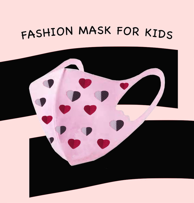 Fashion Mask For Kids (Reusable - Washable) - Pink with hearts
