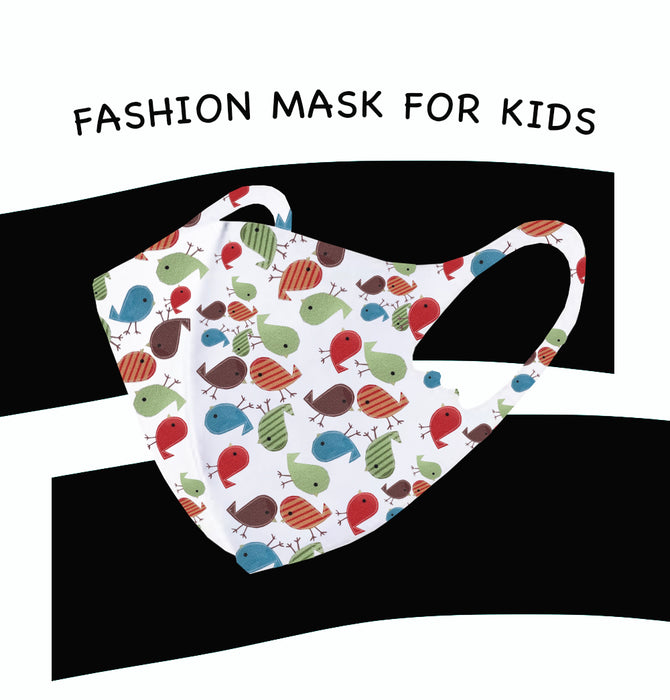 Fashion Mask For Kids (Reusable - Washable) - White with birds