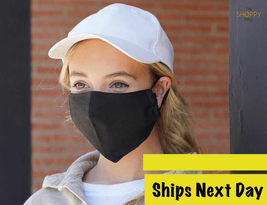 Cloth Face Masks with Filter Insert (Black) - Secret Service Face Masks - Washable