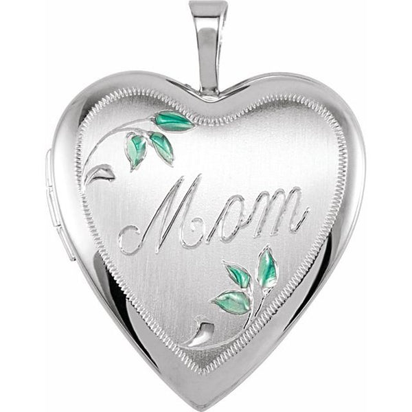 Sterling Silver 925 Heart Mom Locket with Color