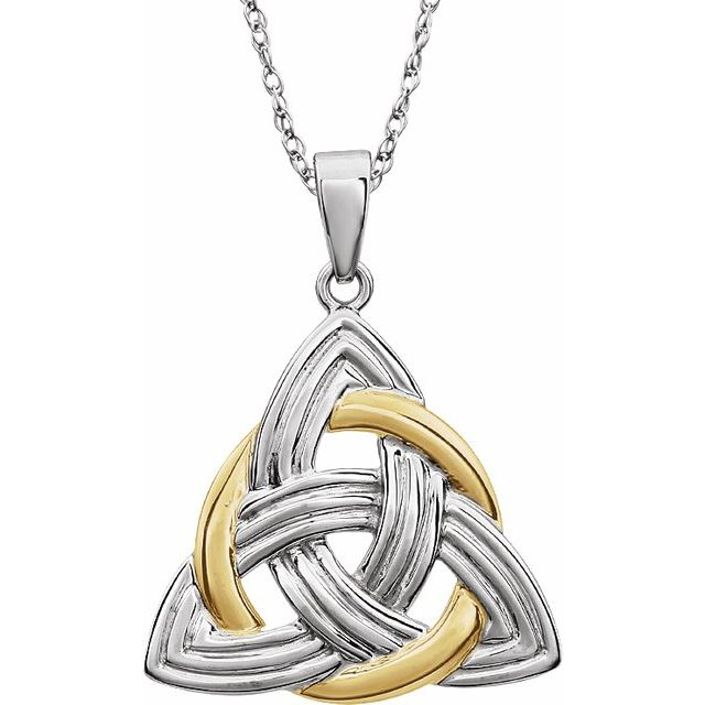 14K Two-Tone Celtic-Inspired Pendant