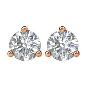 0.50ctw diamond earrings - three claw martini setting ROSE GOLD