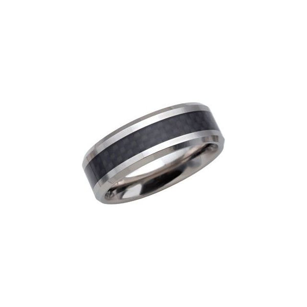 Tungsten Beveled Band with Black Carbon Fibre - 8 mm