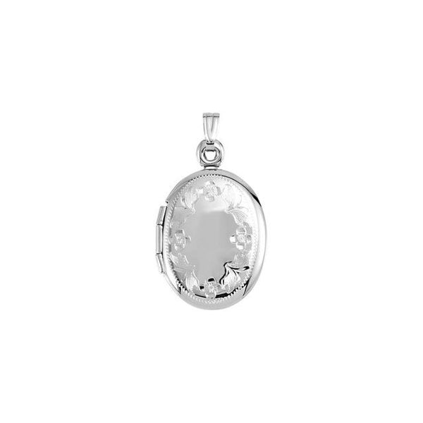 14K White Oval Shaped Locket