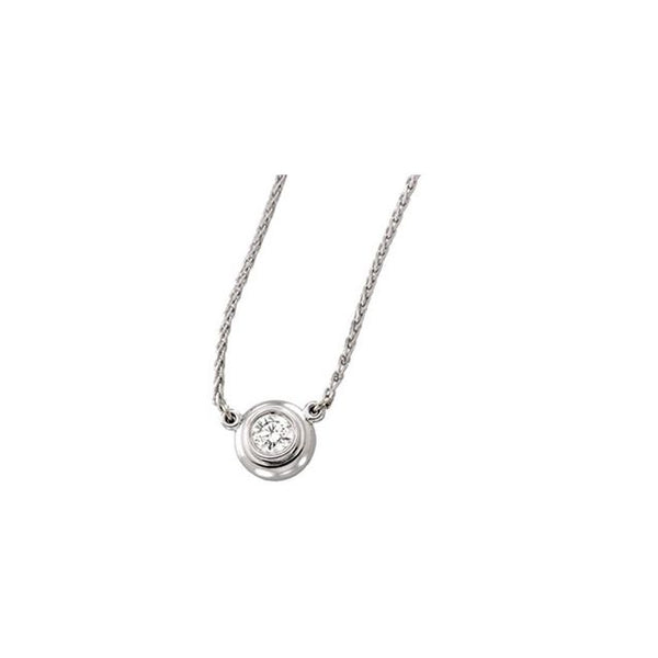 14K White Gold 0.15 Bezel-Set Necklace