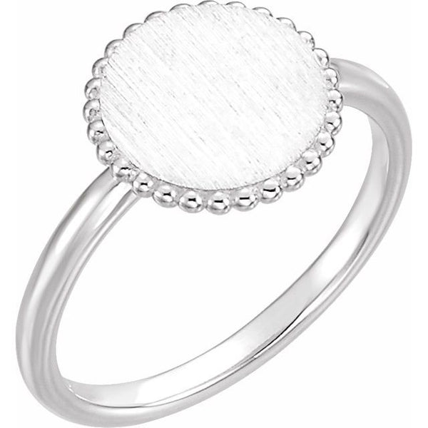 Sterling Silver Engravable Beaded Ring