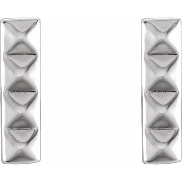 Sterling Silver 925 Pyramid Bar Earrings