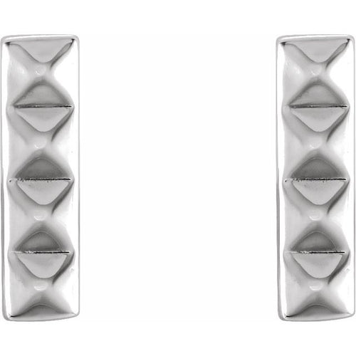 Platinum Pyramid Bar Earrings