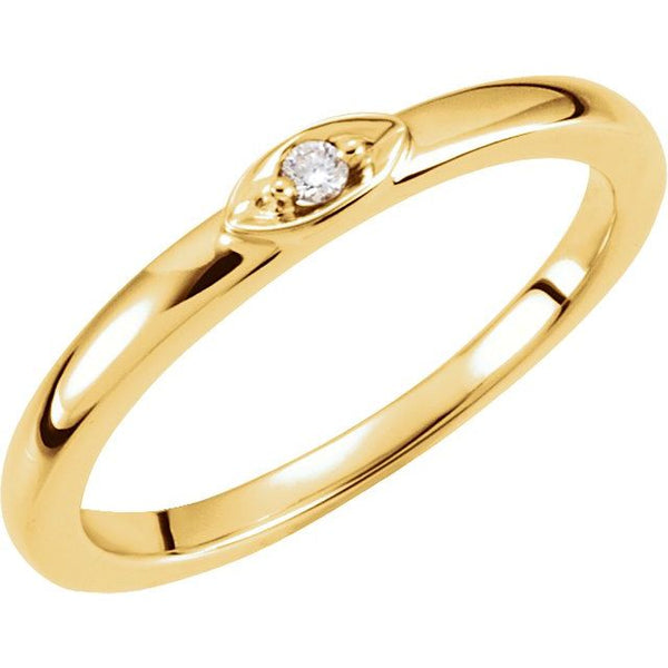 14k single diamond stone ring