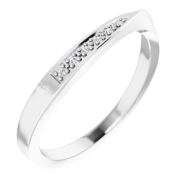 14k Diamond Stackable Wave Ring