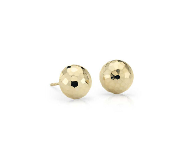 14k Yellow Gold Mirror Diamond Ball Earrings