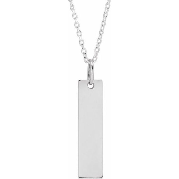 "Sterling Silver Engravable Bar 16-18"" Necklace"