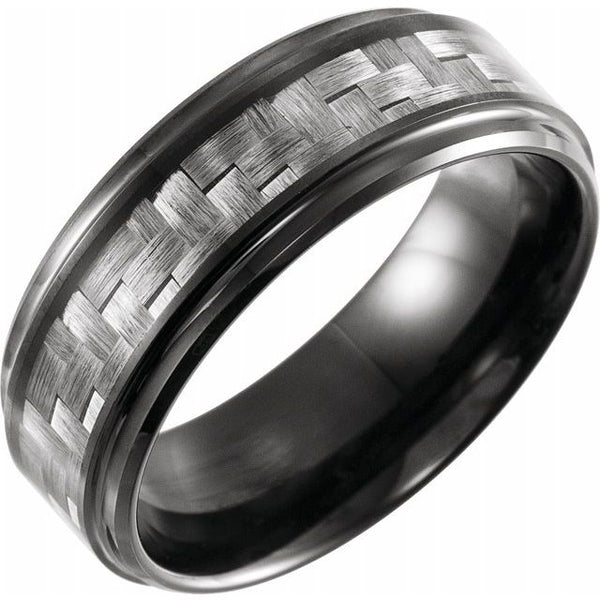 Black PVD Tungsten Band with Grey Carbon Fibre Inlay - 8mm