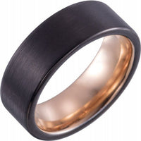 18K Rose Gold PVD & Black PVD Tungsten Band - 8mm