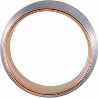 18K Rose Gold PVD Tungsten Band - 8 mm Grooved