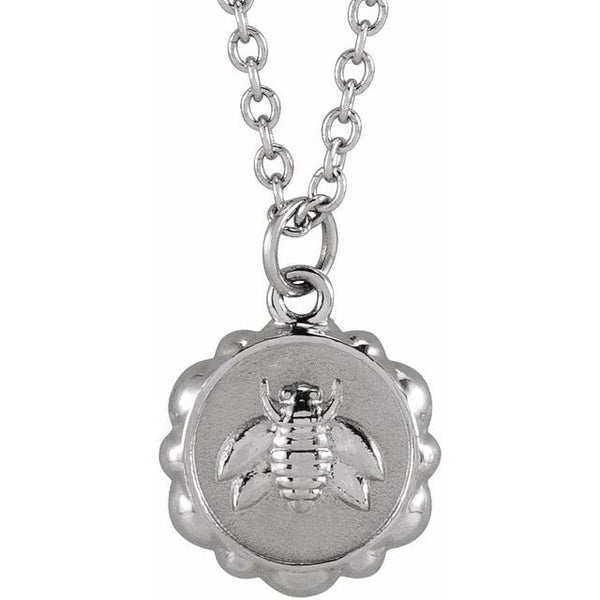 "Sterling Silver Bee Medallion 16-18"" Necklace"
