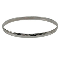 Sterling Silver Hammered Finish Bangle - 4mm
