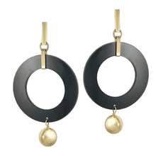 Load image into Gallery viewer, Celebrity Hoops - Gold / Black Gloss