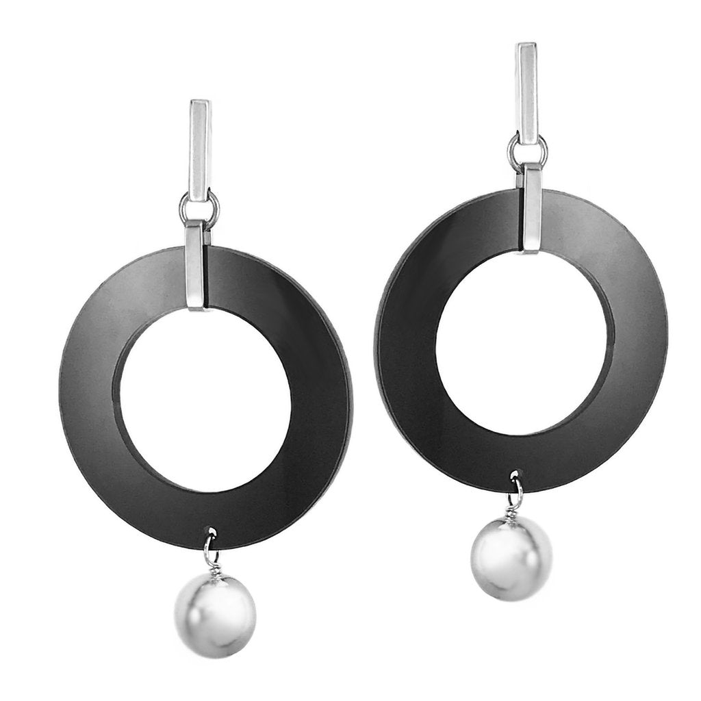 Celebrity Hoops - Silver / Black Gloss