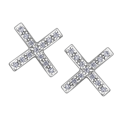 10k white gold diamond x-design earrings