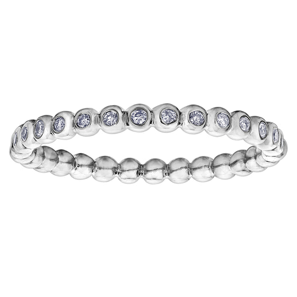 10k white gold beaded diamond band