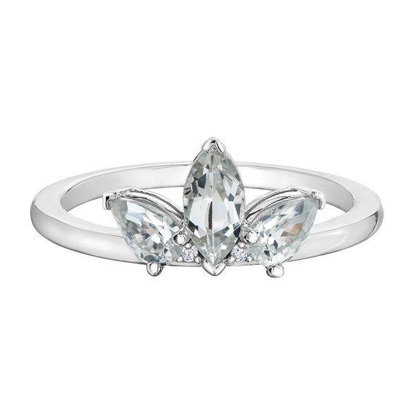 10k white topaz stone ring - crown design