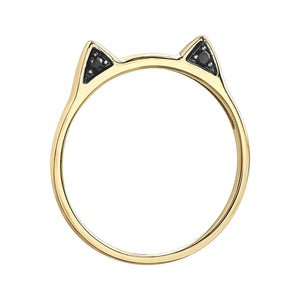 10k yellow gold Cat Ring with black diamond