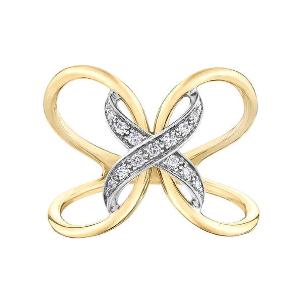 10k yellow gold open design diamond ring