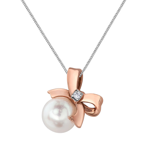 10k rose gold pearl necklace