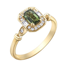Load image into Gallery viewer, 10K yellow gold green tourmaline ring