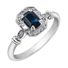 Load image into Gallery viewer, 10K white gold sapphire ring