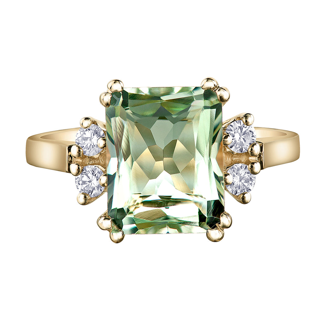 10k Green Amethyst and Diamond Ring