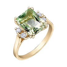Load image into Gallery viewer, 10k Green Amethyst and Diamond Ring