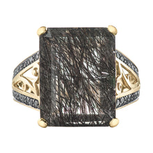 Load image into Gallery viewer, 10k Yellow Gold Tourmalized Quartz Ring