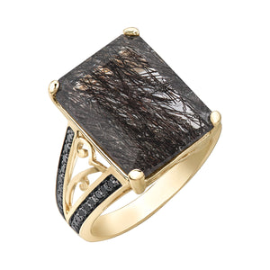 10k Yellow Gold Tourmalized Quartz Ring