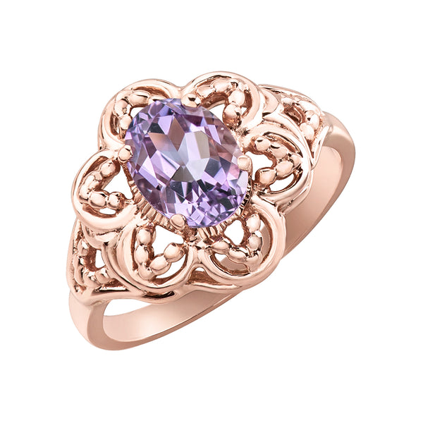 10k Rose Gold Lilac Amethyst Ring