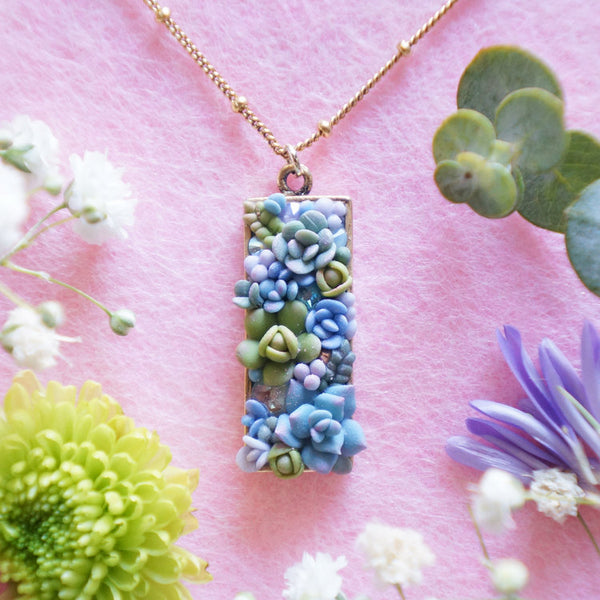 Succulent Garden Bar Necklace