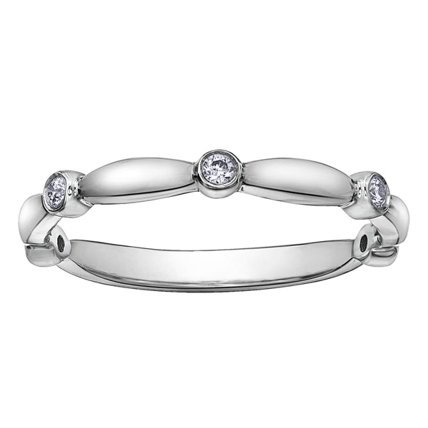 10k white gold contour diamond band