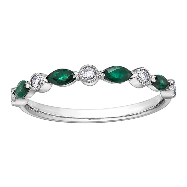 10k white gold emerald and diamond band