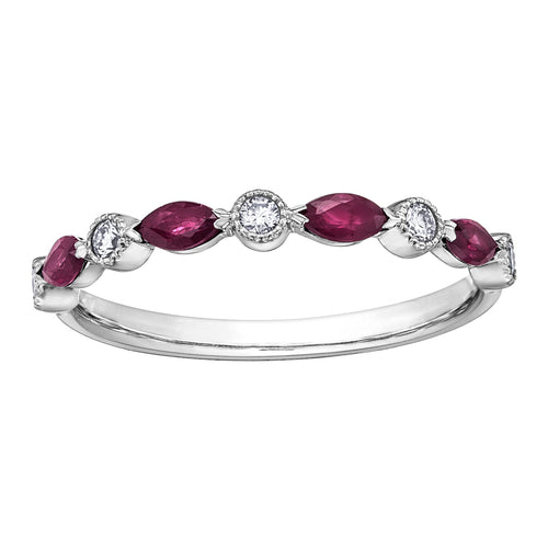 10k white gold ruby and diamond band