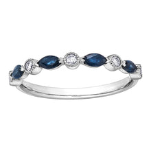 Load image into Gallery viewer, 10k white gold sapphire and diamond band