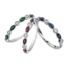 Load image into Gallery viewer, 10k white gold ruby and diamond band