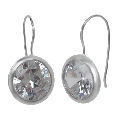 SS Round Cubic Zirconia Earrings