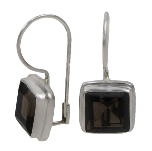 Sterling Silver Square Gemstone Earrings