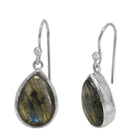 Sterling Silver Labradorite Earrings - tear shape