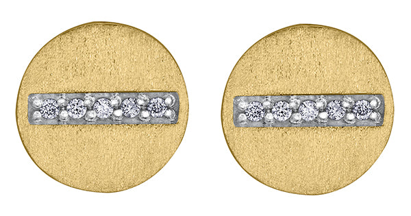 10k Yellow Gold Diamond Disc Earrings