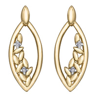 Gold and Diamond Floral Earrings
