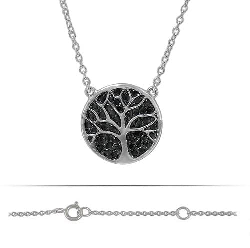 Sterling Silver Black Crystal Tree of Life Necklace