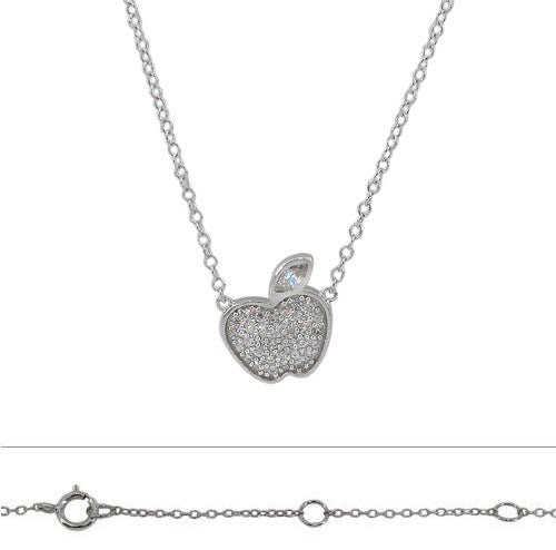 Sterling Silver CZ Apple Necklace