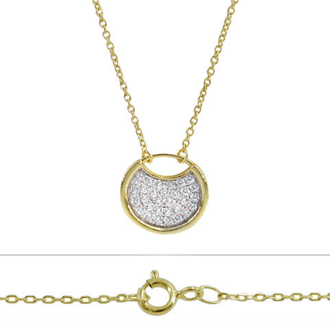 Sterling Silver Vermeil 15mm round charm necklace